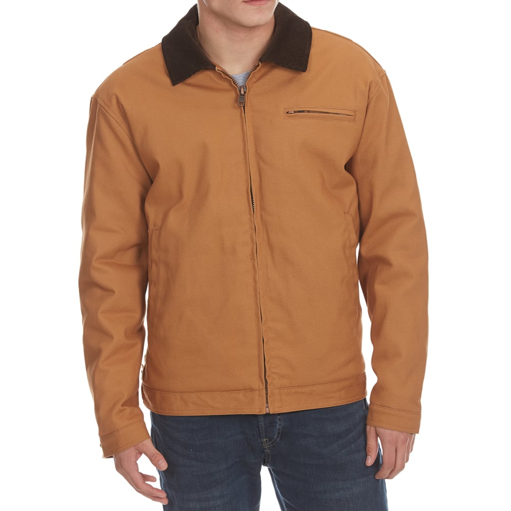 TEFLON Men's Cotton Duck Jacket with Contrast Collar - DARK BROWN