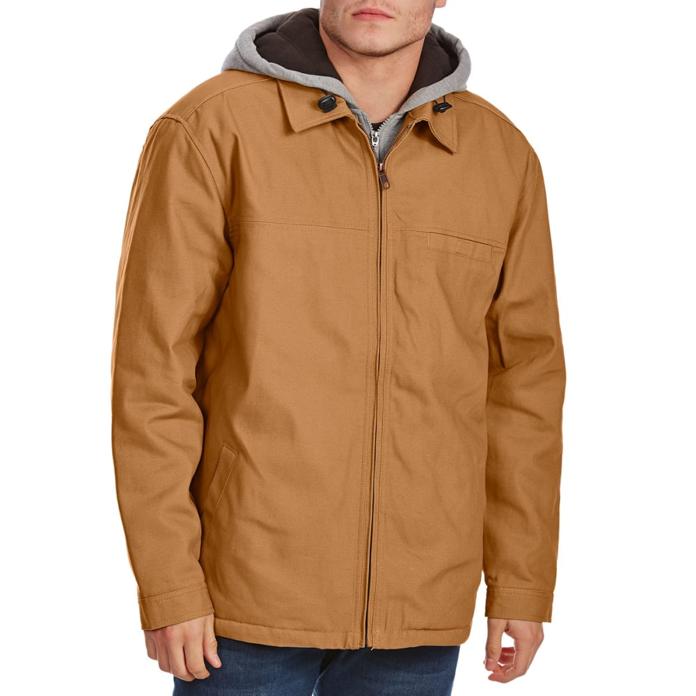UTILITY PRO WEAR Men's Cotton Duck Jacket with Hooded Fleece Insert - DARK BROWN