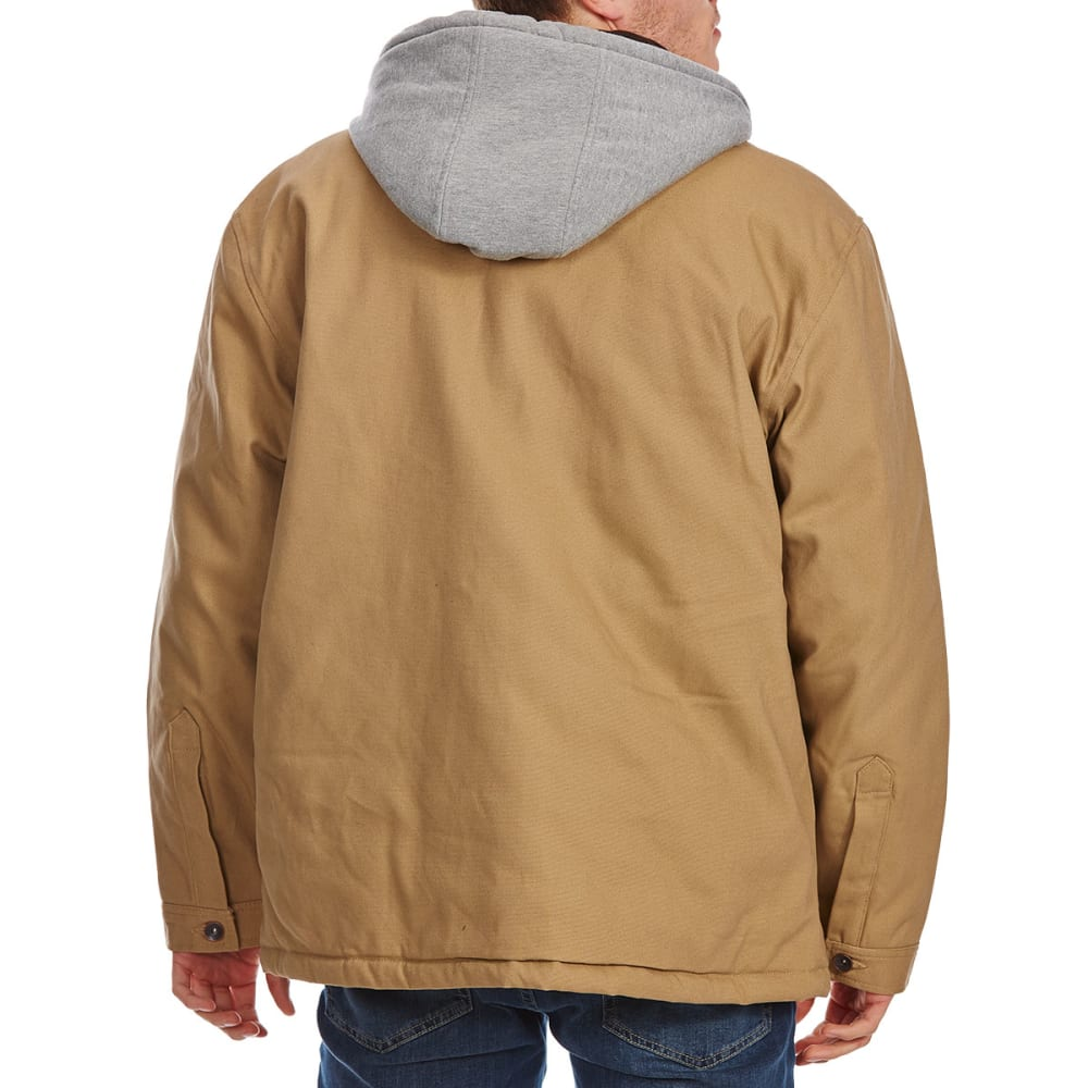 UTILITY PRO WEAR Men's Cotton Duck Jacket with Hooded Fleece Insert - BEIGE-TAN