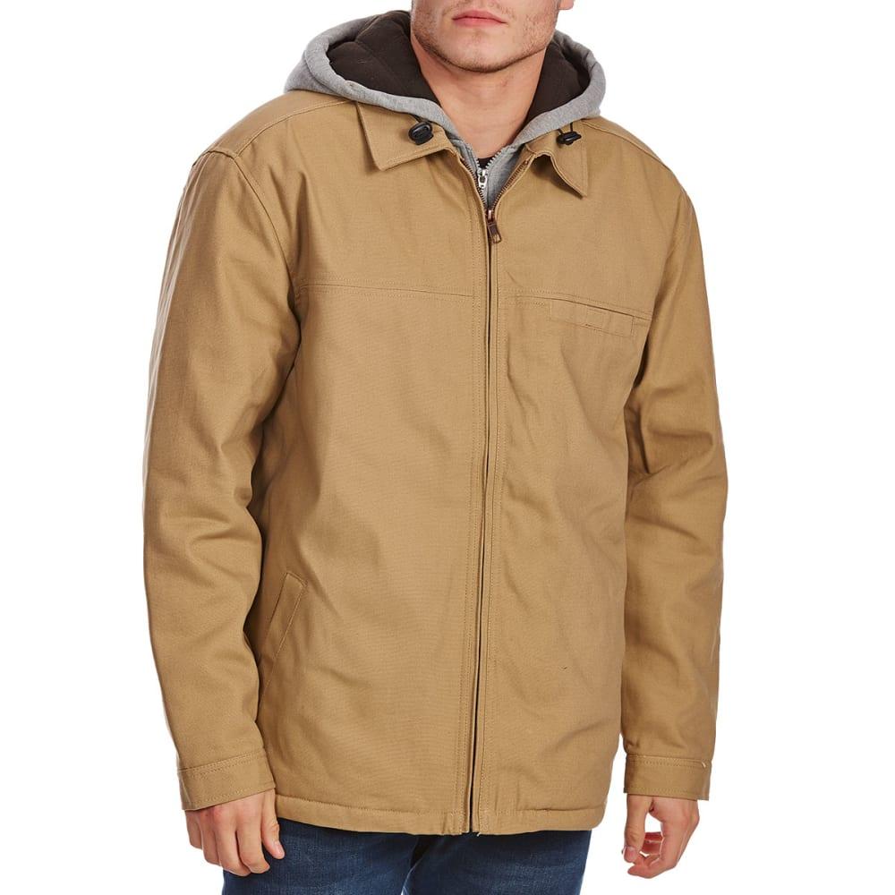 UTILITY PRO WEAR Men's Cotton Duck Jacket with Hooded Fleece Insert - BEIGE-TAN