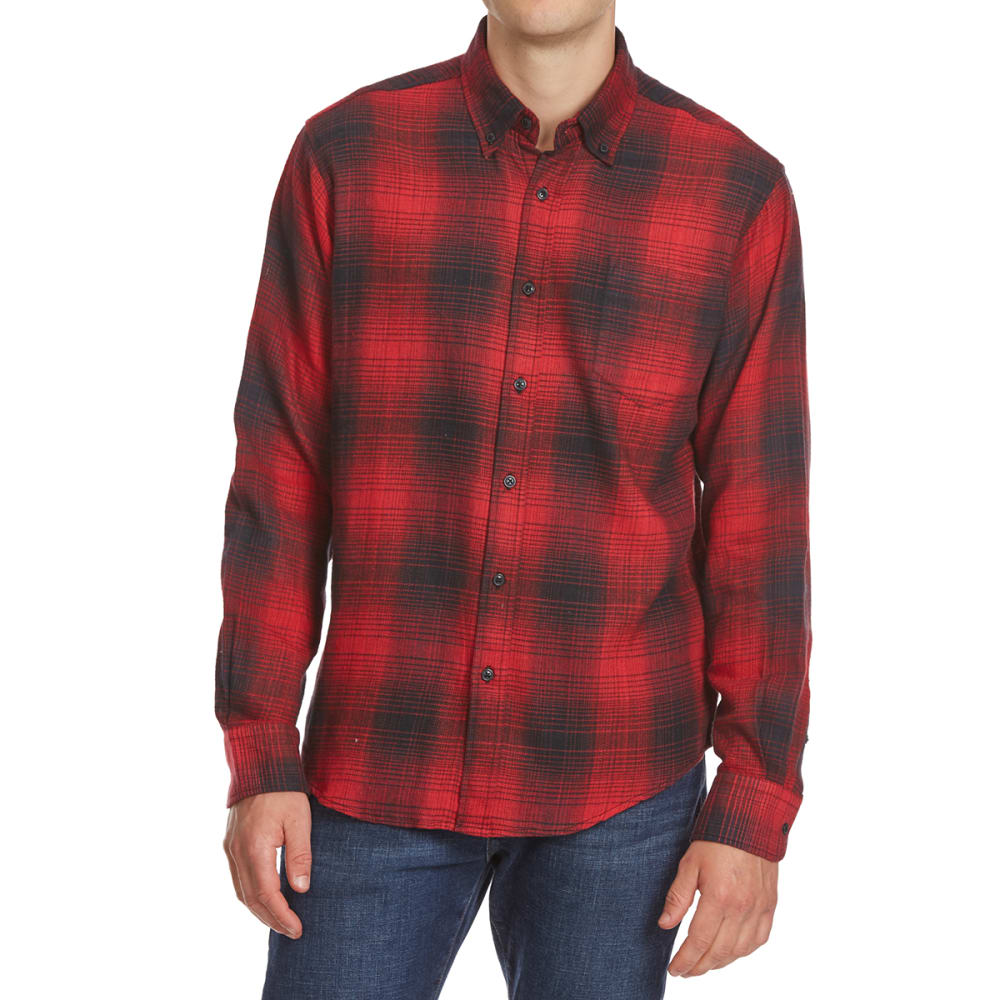 NORTH HUDSON Men's Flannel Long-Sleeve Shirt - 606-RED/BLK