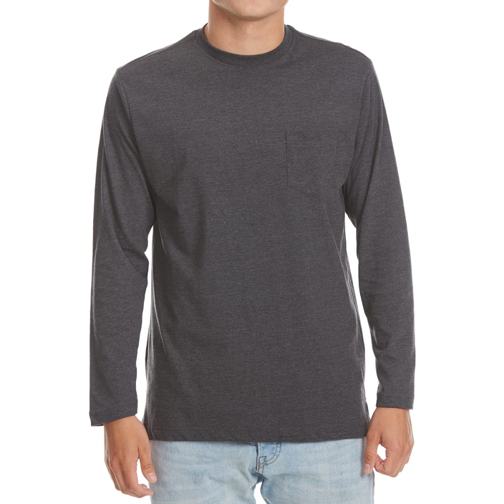 NORTH HUDSON Men's Heather Pocket Long-Sleeve Tee - CHAR HTR