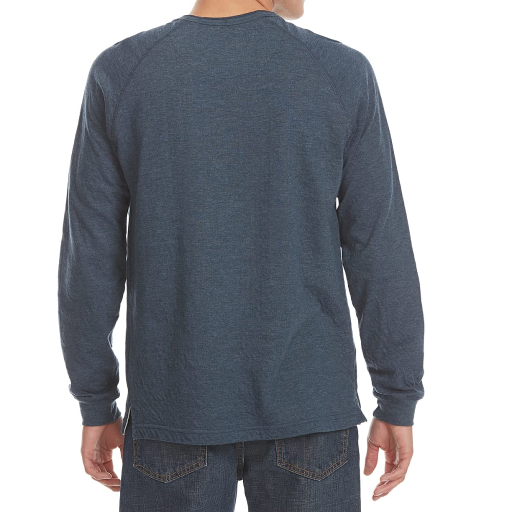 NORTH HUDSON Men's Raglan Henley Long-Sleeve Shirt - NVY HTR