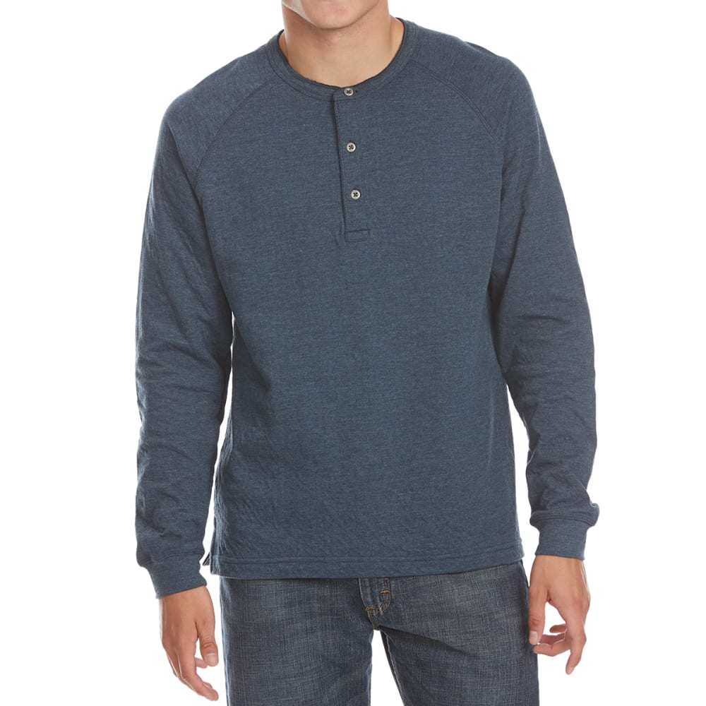 NORTH HUDSON Men's Raglan Henley Long-Sleeve Shirt - NVY HTR