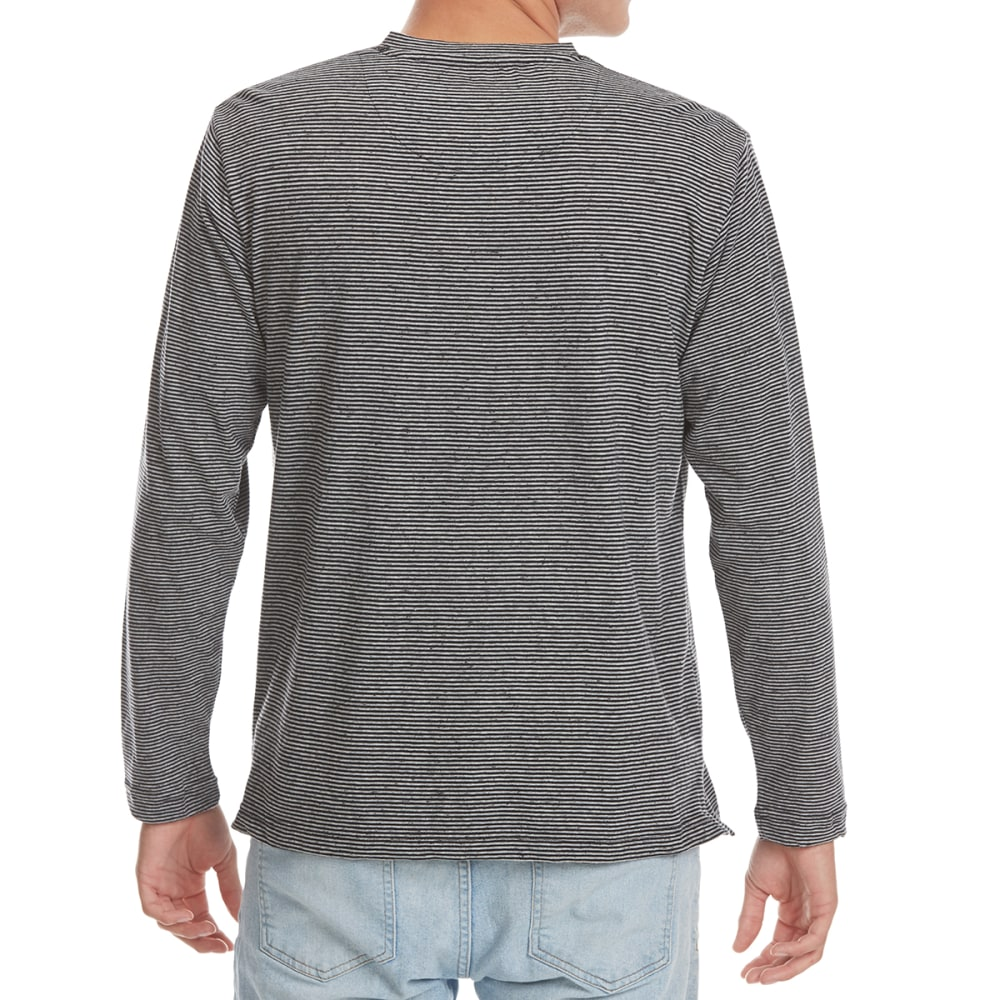 NORTH HUDSON Men's Fleck-Stripe Henley Long-Sleeve Shirt - BLK/GRY