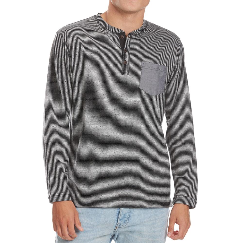 NORTH HUDSON Men's Fleck-Stripe Henley Long-Sleeve Shirt - BLK/GRY