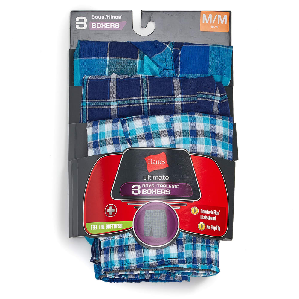 HANES Boys' Ultimate Plaid Boxers, 3 Pack - ASST
