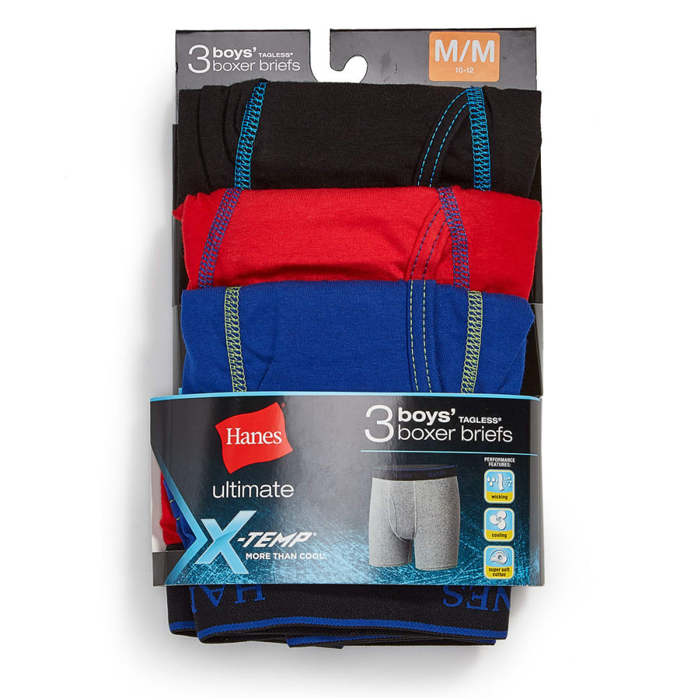 HANES Boys' X-Temp Boxer Briefs, 3 Pack - ASST