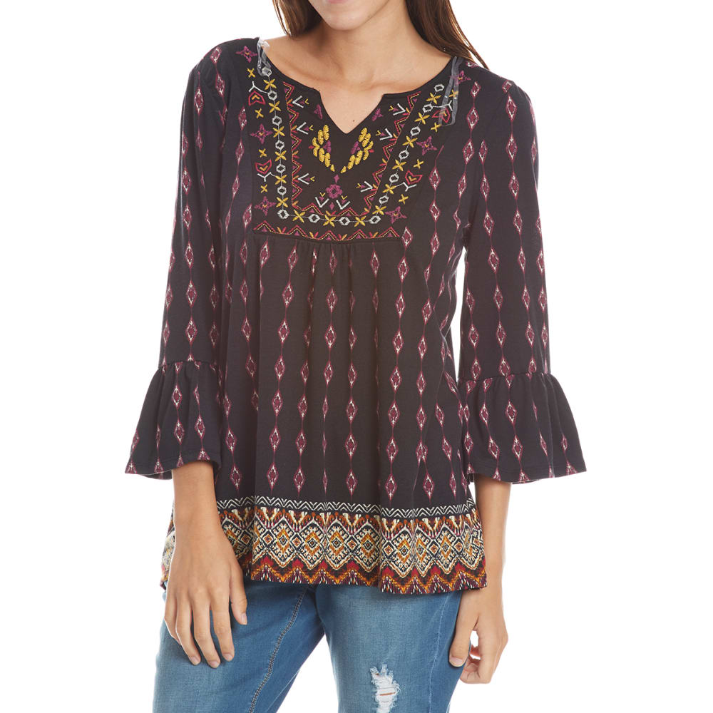 ABSOLUTELY FAMOUS Women's Embroidered Yoke Flounce Sleeve Top - BLACK
