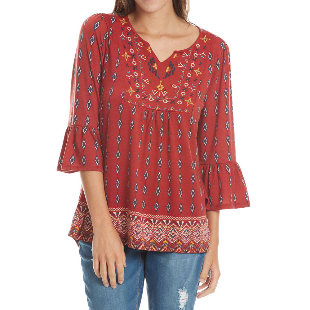 ABSOLUTELY FAMOUS Women's Embroidered Yoke Flounce Sleeve Top - BURNT ORANGE