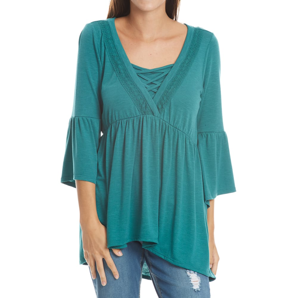 ABSOLUTELY FAMOUS Women's Solid Cage Neck Flounce Sleeve Top - TEAL