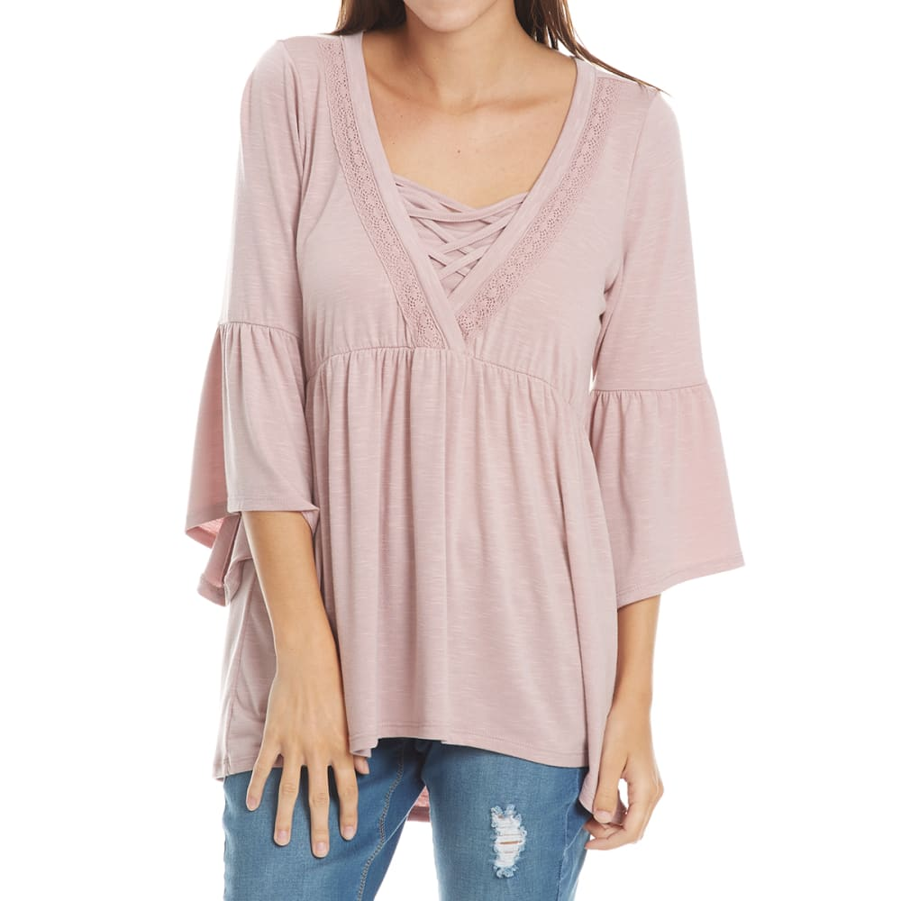 ABSOLUTELY FAMOUS Women's Solid Cage Neck Flounce Sleeve Top - MAUVE