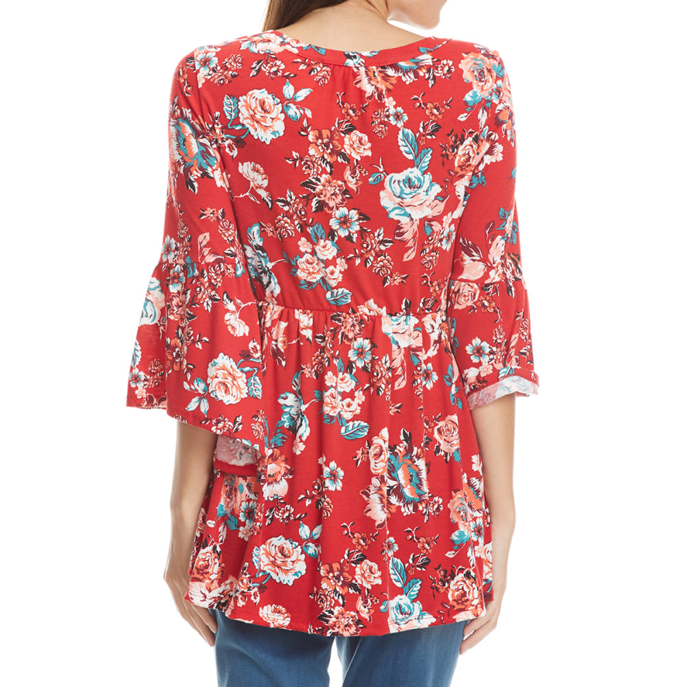 ABSOLUTELY FAMOUS Women's Floral Cage Neck Flounce Sleeve Top - BRICK RED COMBO