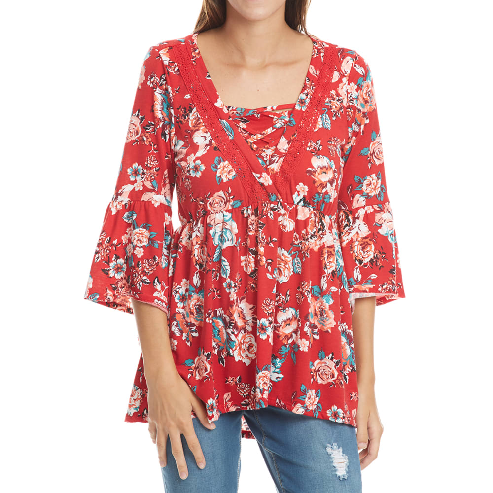 Absolutely Famous Women's Floral Cage Neck Flounce Sleeve Top - Red, S