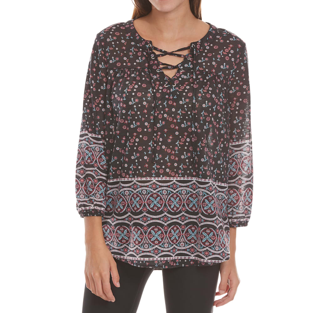 ABSOLUTELY FAMOUS Women's Lace Yoke Lace-Up Peasant Top - 9394-1857-BLACK COMB