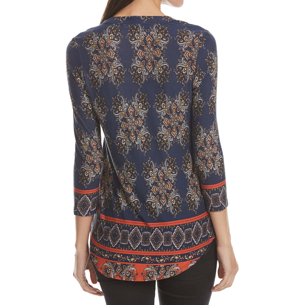 ABSOLUTELY FAMOUS Women's Buttoned Placket ¾-Sleeve Top - INDIGO MULTI