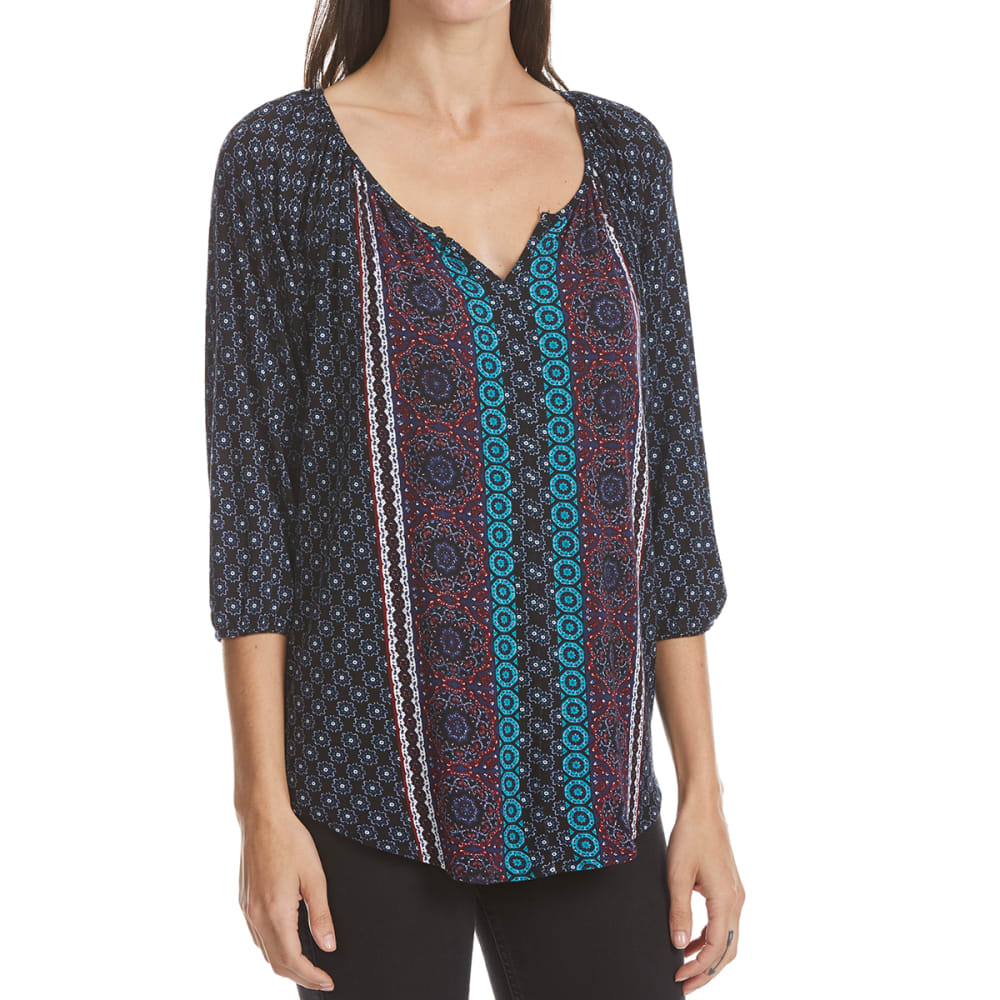 ABSOLUTELY FAMOUS Women's Printed Peasant Top - 9325-BLACK MULTI