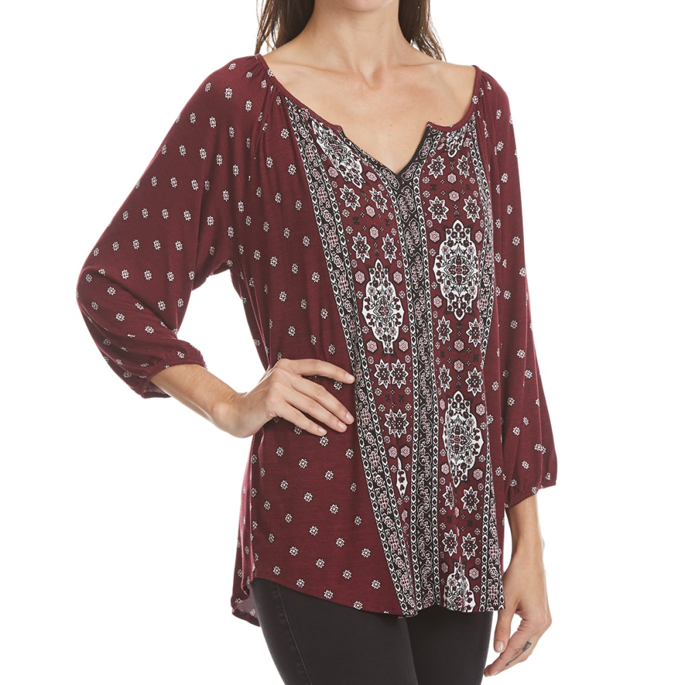 ABSOLUTELY FAMOUS Women's Printed Peasant Top - 9808-MERLOT MULTI