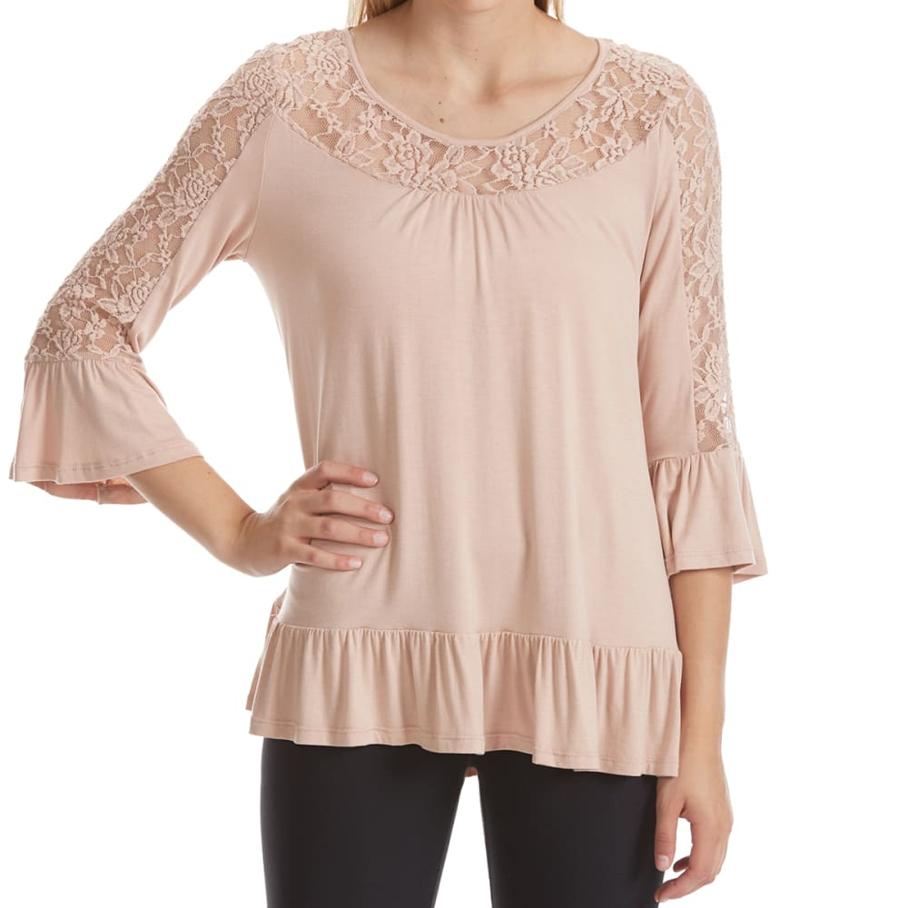 ABSOLUTELY FAMOUS Women's Lace Detail Flounce Sleeve Top - TEA ROSE