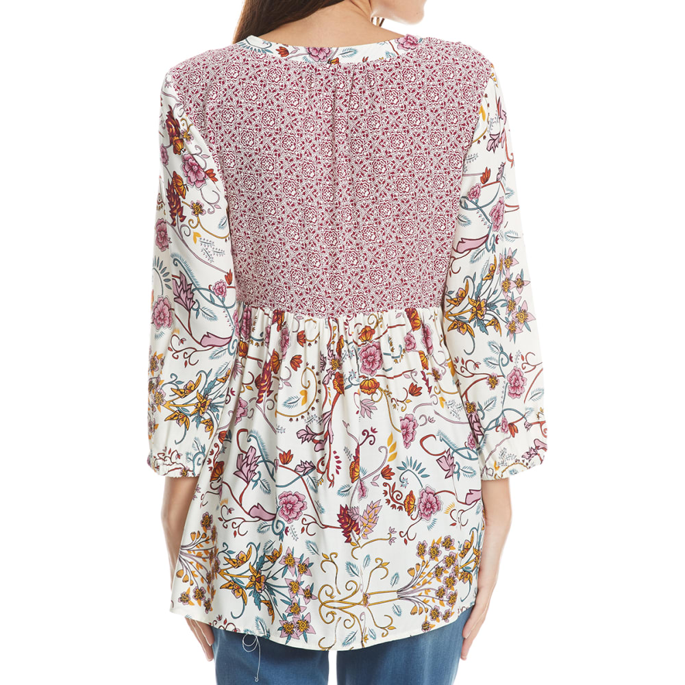 ABSOLUTELY FAMOUS Women's Twin Print Lace-Up ¾-Sleeve Top - IVORY COMBO
