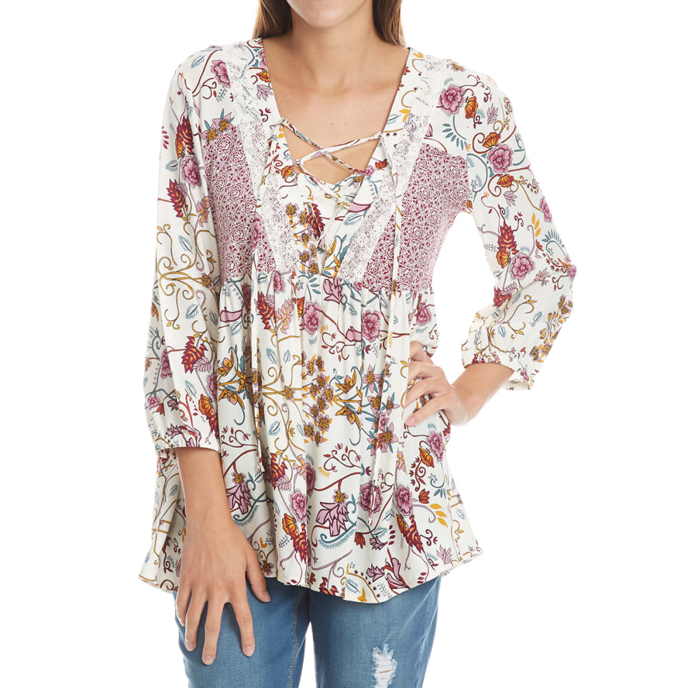 Absolutely Famous Women's Twin Print Lace-Up  3/4-Sleeve Top - White, S