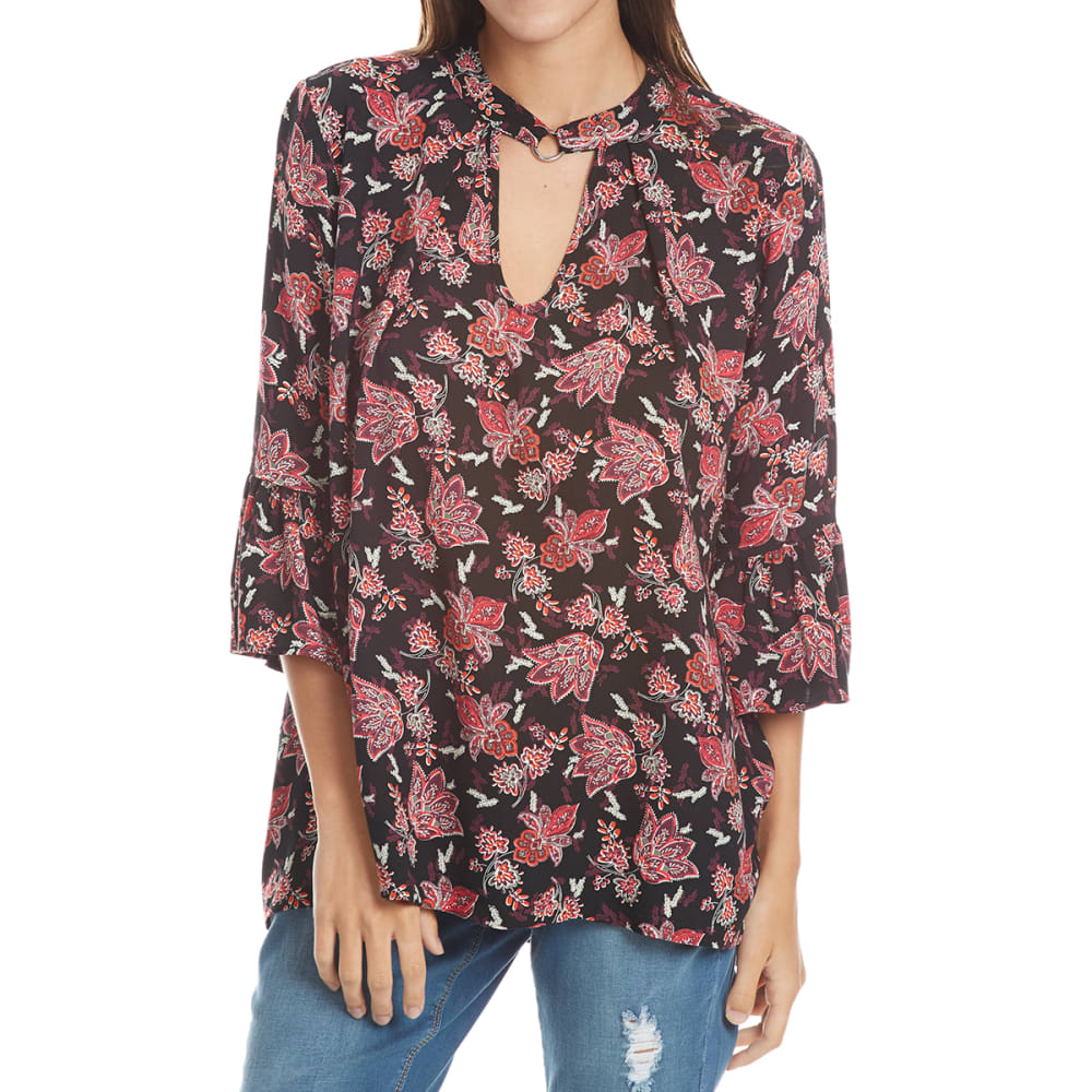 ABSOLUTELY FAMOUS Women's Floral Choker Neck Flare Sleeve Top - BLACK COMBO