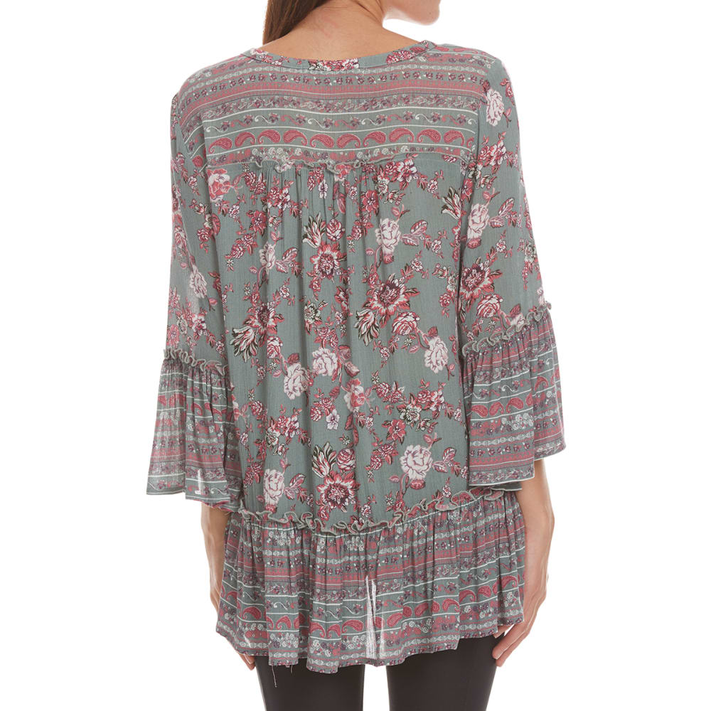 ABSOLUTELY FAMOUS Women's Twin Print Peasant Top - OLIVE MULTI