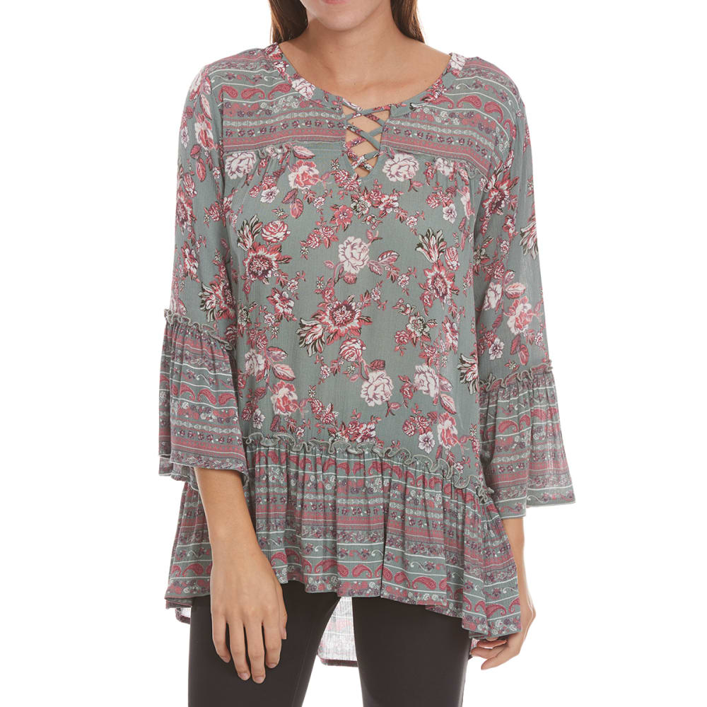 Absolutely Famous Women's Twin Print Peasant Top - Green, S
