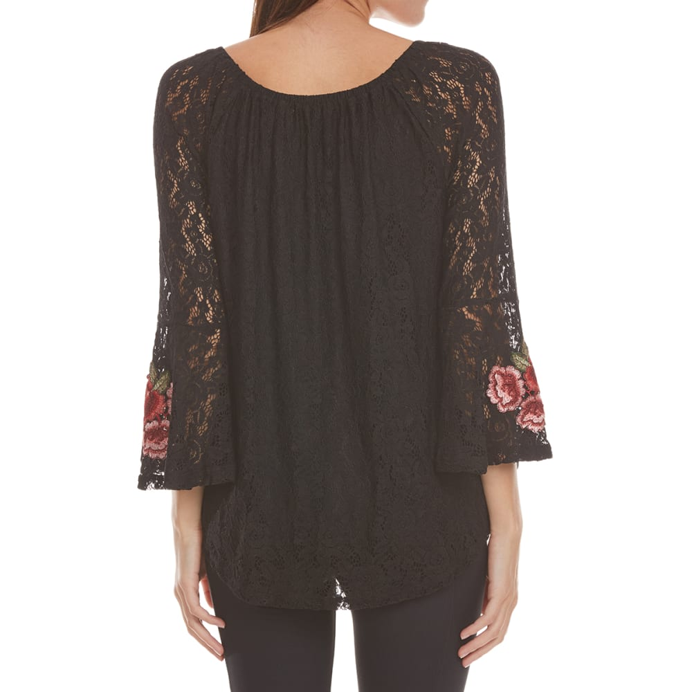 ABSOLUTELY FAMOUS Women's Rose Applique All Over Woven Lace Top - BLACK