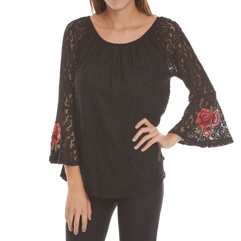 Absolutely Famous Women's Rose Applique All Over Woven Lace Top - Black, L