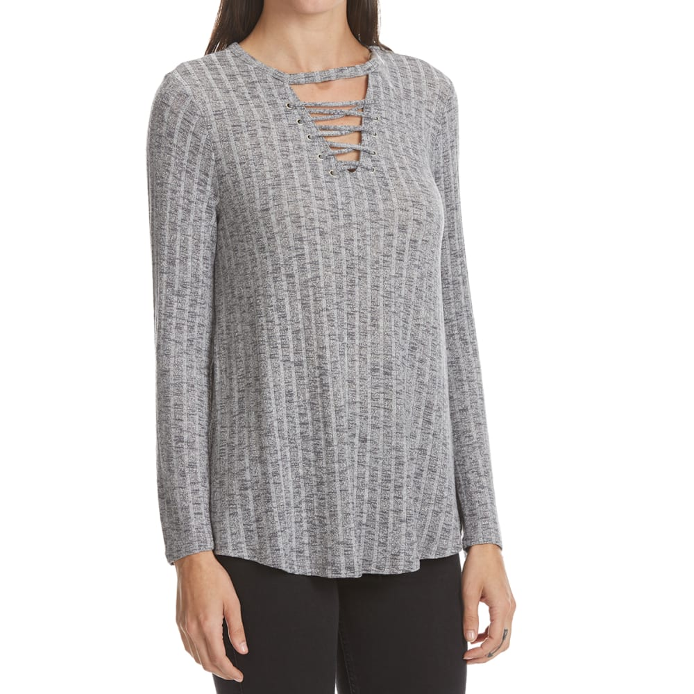 ABSOLUTELY FAMOUS Women's Lace-Up Front Long-Sleeve Top - SMOKE COMBO