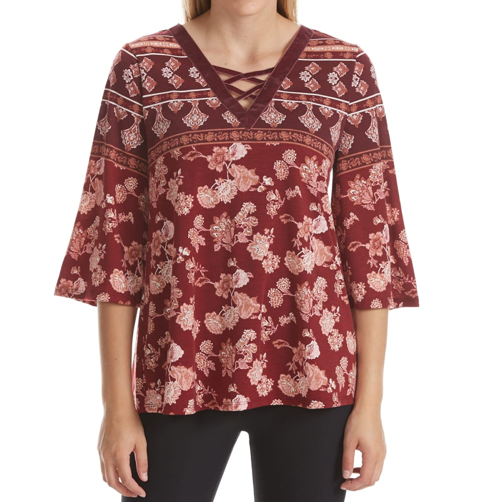 ABSOLUTELY FAMOUS Women's Velvet Trim Lace-Up Neck Top - MERLOT MULTI