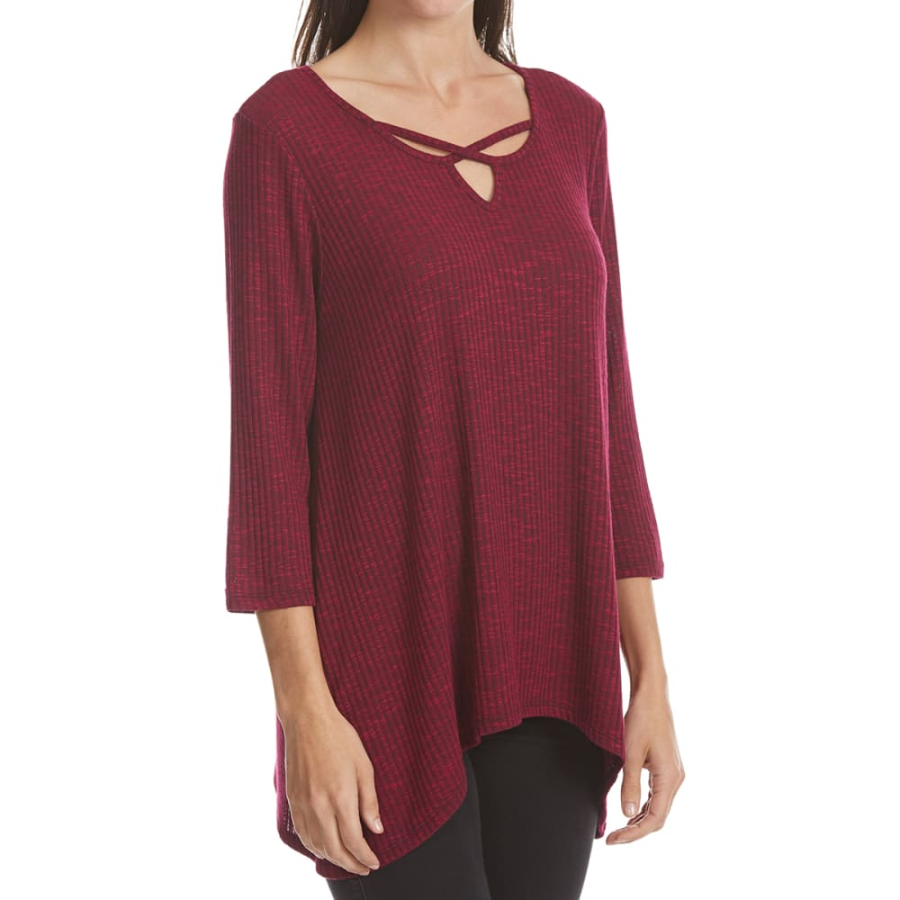 ABSOLUTELY FAMOUS Women's X-Front Keyhole Shark Bite Top - SANGRIA