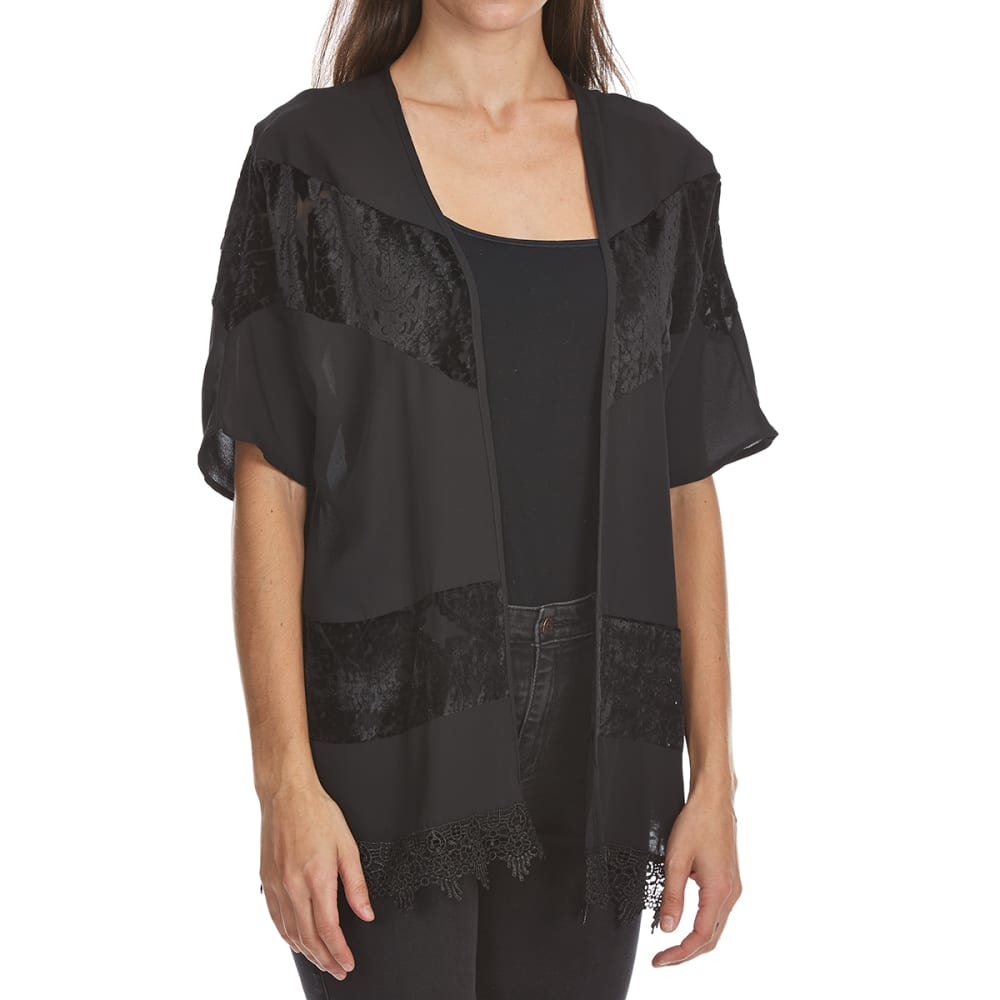 ABSOLUTELY FAMOUS Women's Woven Crochet Hem Kimono - BLACK