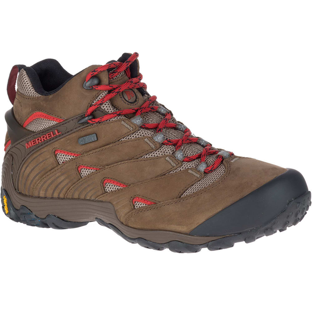 MERRELL Men's Chameleon 7 Mid Waterproof Hiking Boots, Boulder - BOULDER