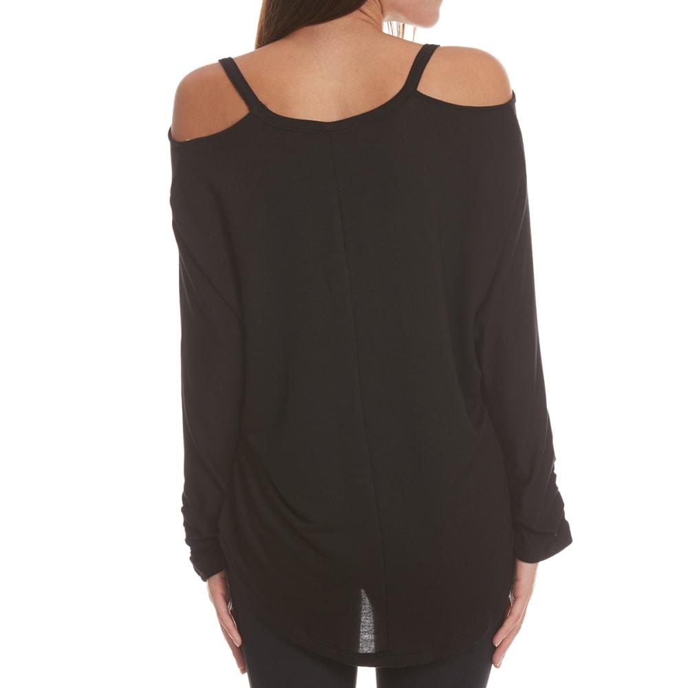 TRESICS FEMME Women's Dolman ¾-Sleeve Top with Cutout Detail - BLACK