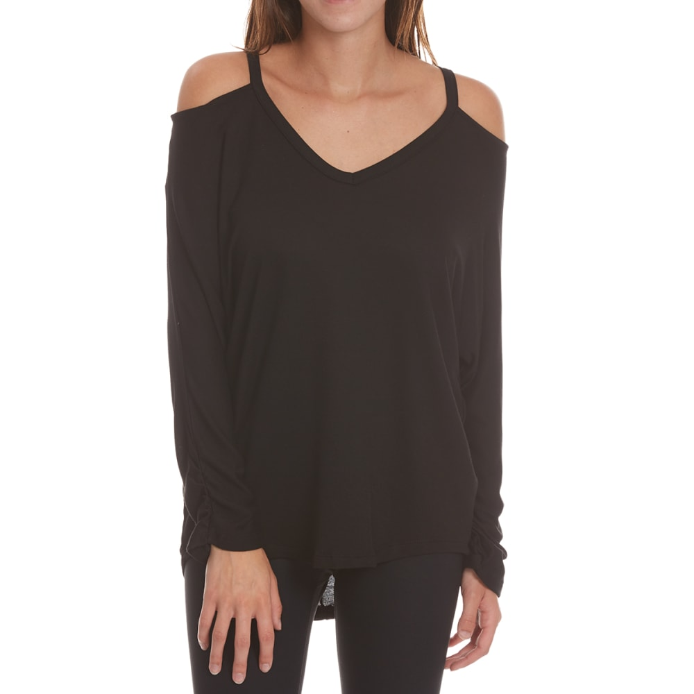 TRESICS FEMME Women's Dolman ¾-Sleeve Top with Cutout Detail - BLACK
