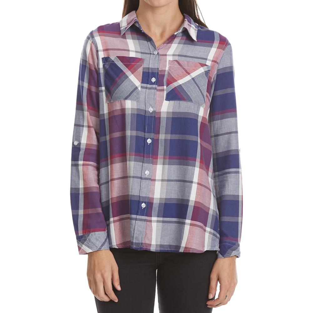 MAISON COUPE Women's Two-Pocket Roll-Tab Plaid Long-Sleeve Shirt - PLUM