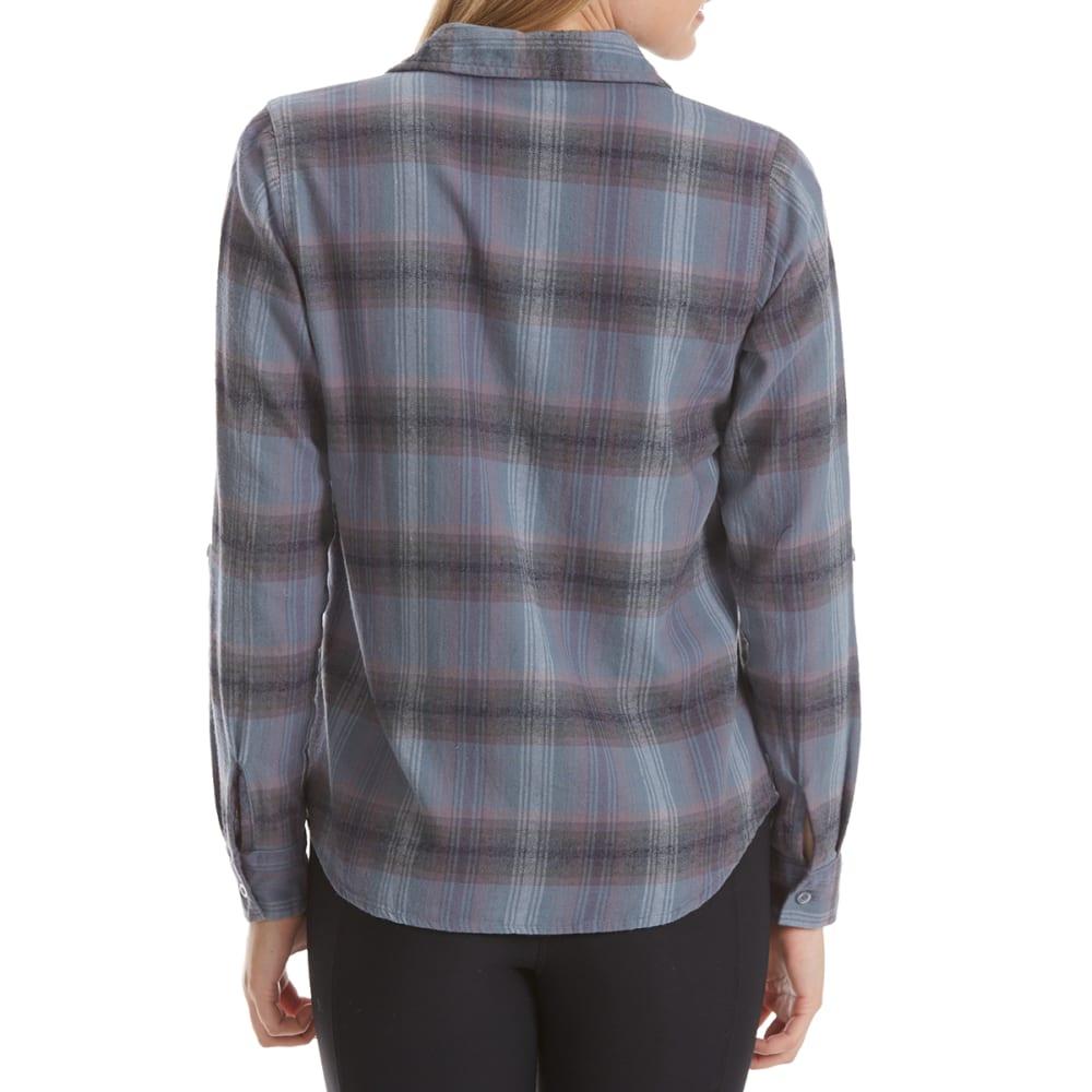 MAISON COUPE Women's Two-Pocket Roll-Tab Plaid Long-Sleeve Shirt - INDIGO