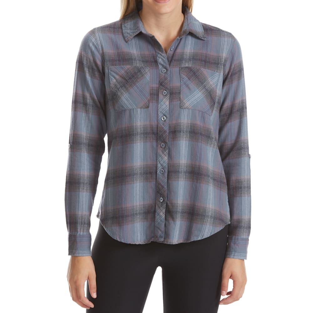 MAISON COUPE Women's Two-Pocket Roll-Tab Plaid Long-Sleeve Shirt - INDIGO