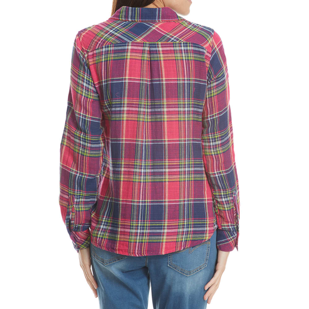 MAISON COUPE Women's Two-Pocket Multi-Plaid Flannel Long-Sleeve Shirt - HOT PINK