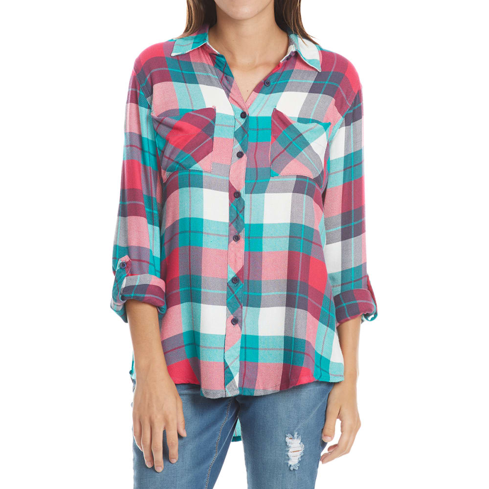 MAISON COUPE Women's Two-Pocket Multi-Plaid Flannel Long-Sleeve Shirt - TEAL