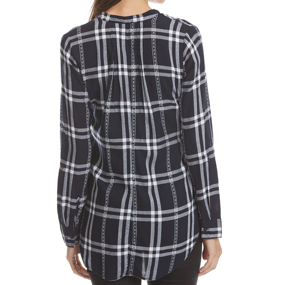 MAISON COUPE Women's Roll Tab Peplum Plaid Shirt - NAVY