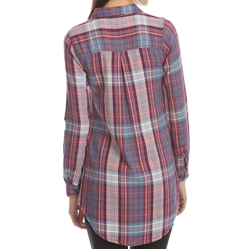 MAISON COUPE Women's Roll Tab Plaid Tunic Top - PURPLE
