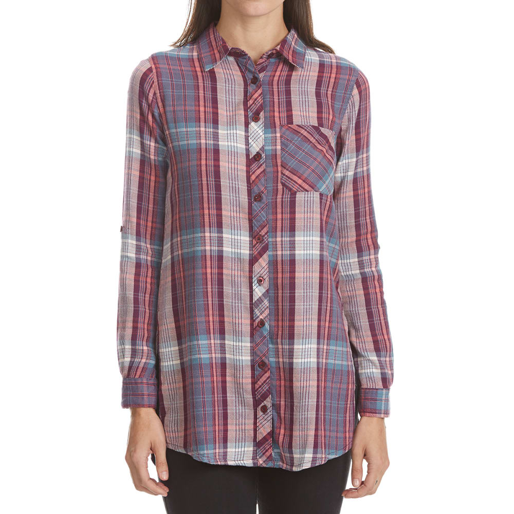 MAISON COUPE Women's Roll Tab Plaid Tunic Top S