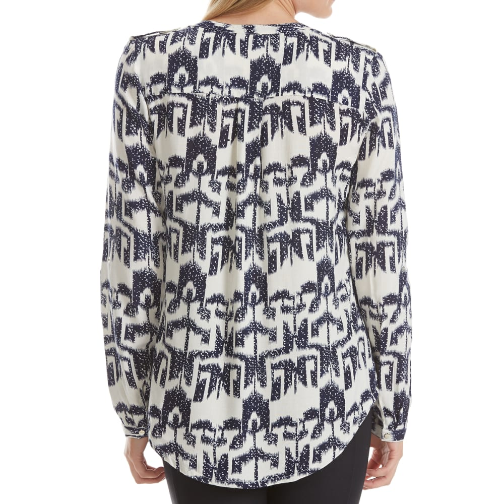 MAISON COUPE Women's Printed Roll-Tab Long-Sleeve Shirt - NAVY