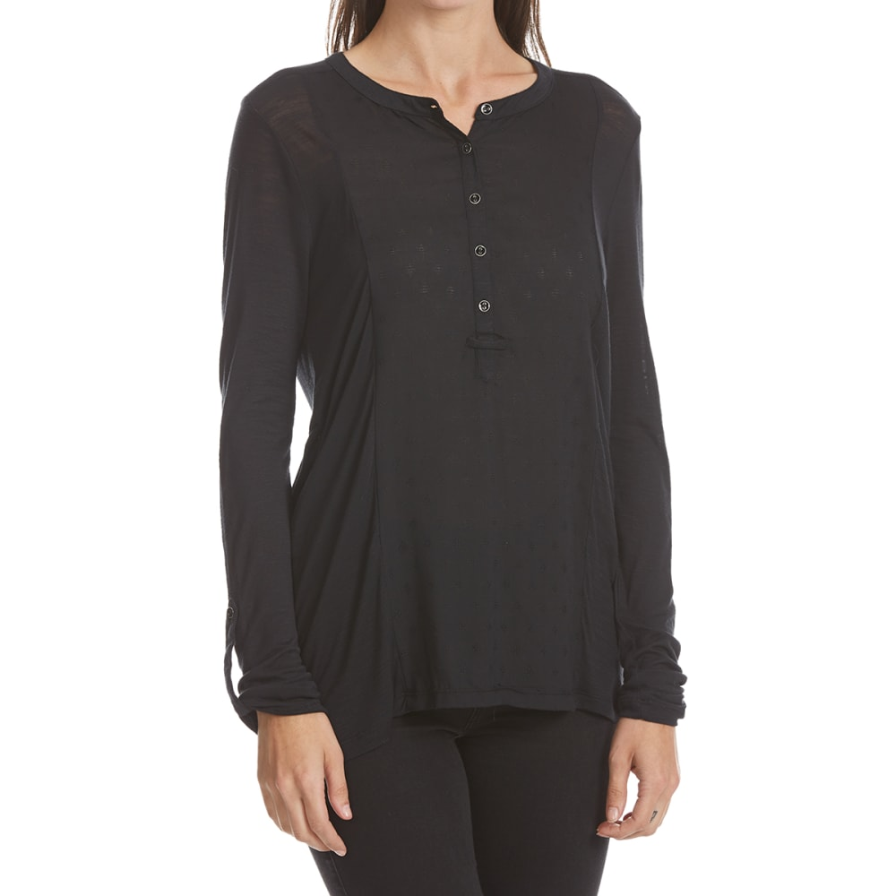 MAISON COUPE Women's Border Print Roll-Tab Long-Sleeve Shirt - BLACK