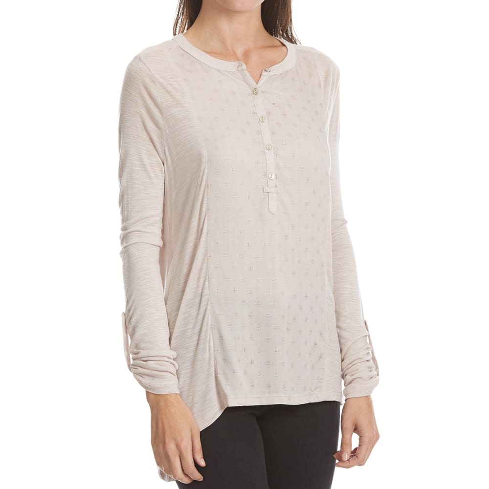 3473ed1a6a7 Maison Coupe Women's Border Print Roll-Tab Long-Sleeve Shirt Light Taupe M