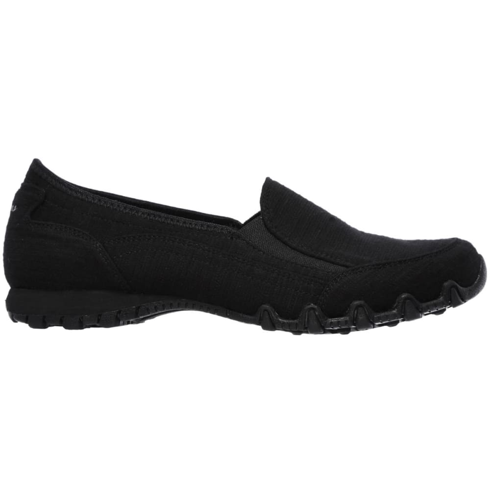 SKECHERS Women's Relaxed Fit: Bikers – Lounger Slip-On Shoes, Black - BLACK