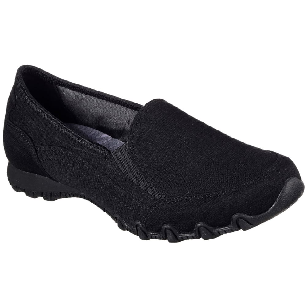 Skechers Women's Relaxed Fit: Bikers -  Lounger Slip-On Shoes, Black